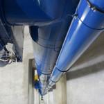Un code couleur a été mis en place au sein des silos : le bleu correspond aux systèmes de ventilation.