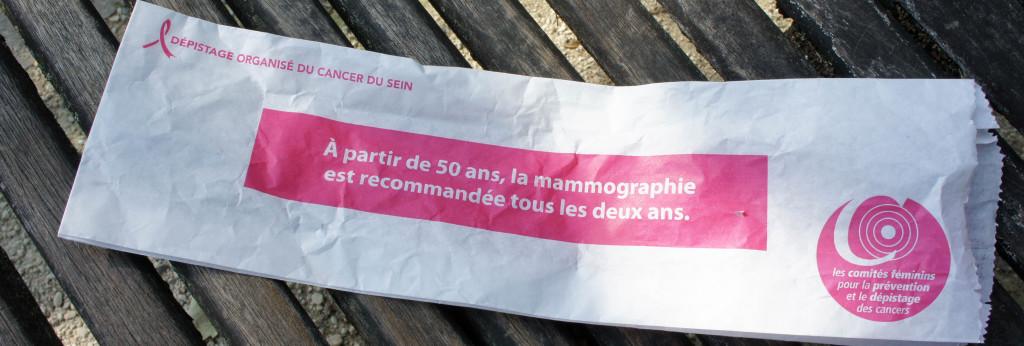 La sacherie de sensibilisation à la Mammographie, recto