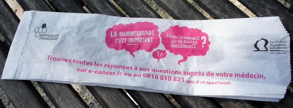 La sacherie de sensibilisation à la Mammographie, verso