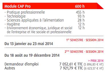 Les prix du module CAP Pro Boulanger en 2014 à l'INBP, issus de leur brochure.