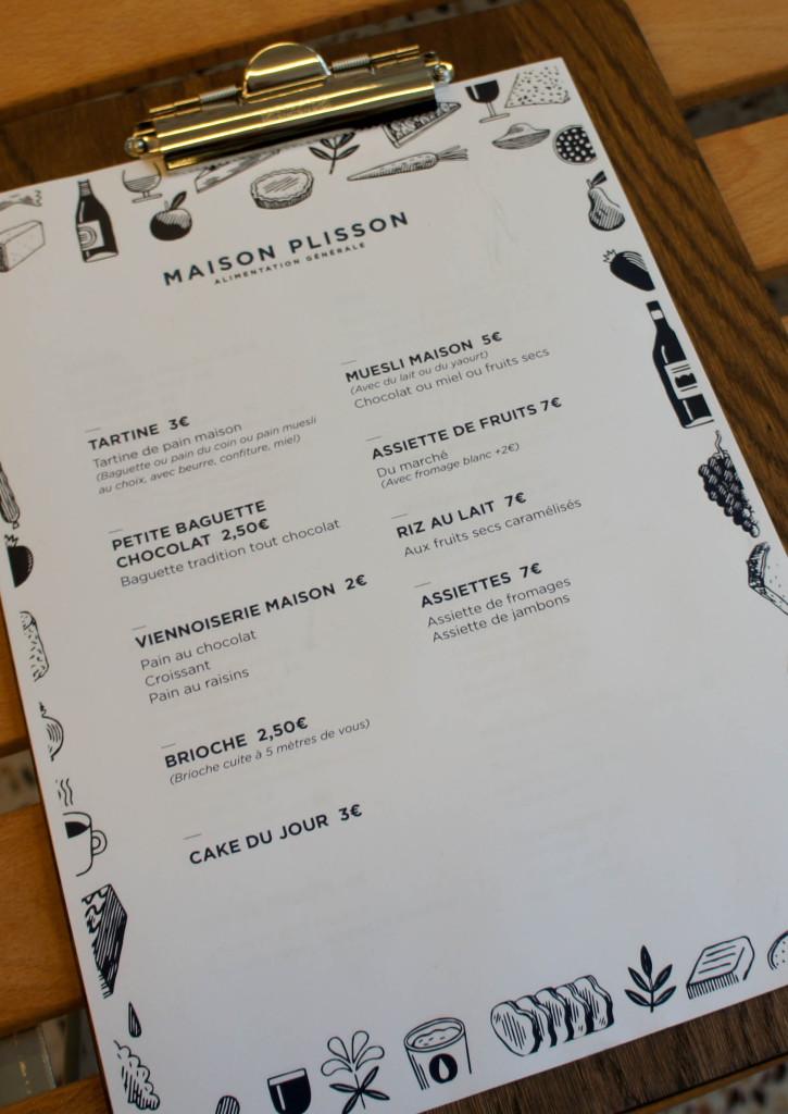 La carte petit déjeuner, Maison Plisson, Paris 11è