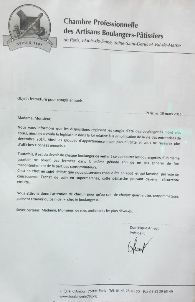 La lettre adressée par Dominique Anract aux boulangers à propos des congés annuels