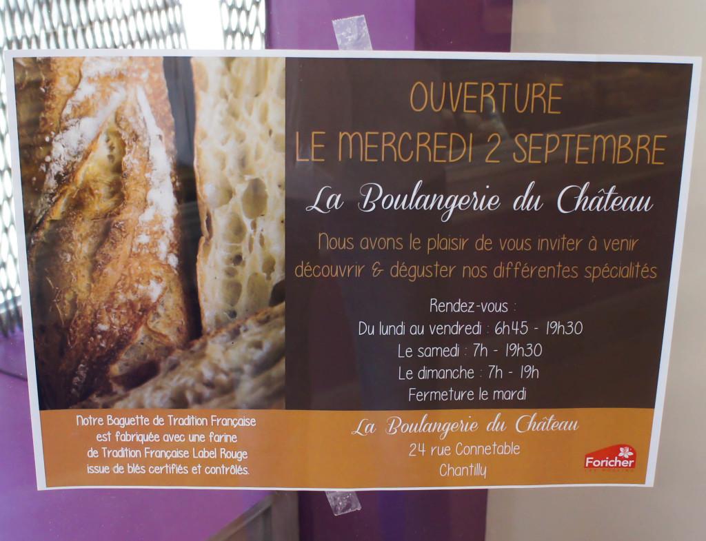 Annonce du changement de propriétaire, Boulangerie du Château, Chantilly (60)