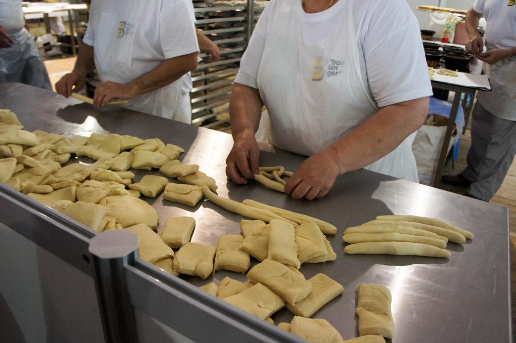 Bretzels en préparation